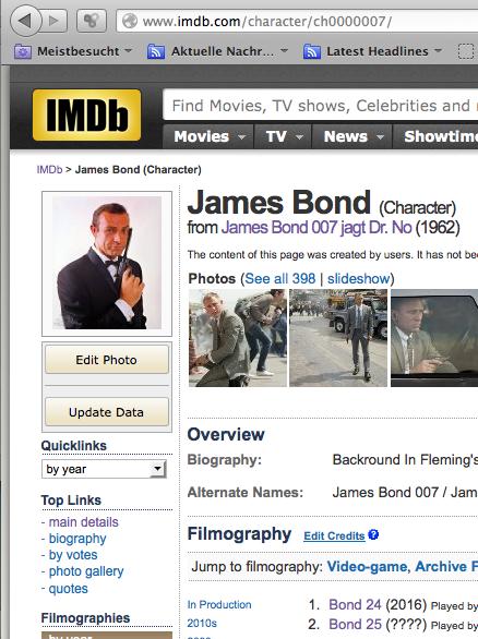 James Bond auf IMDB - was fällt hier auf?